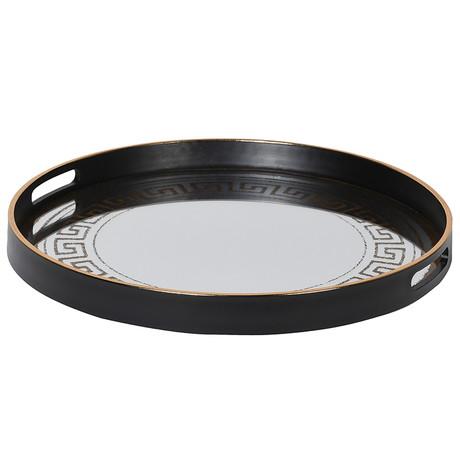 Round mirrored Greek style tray
