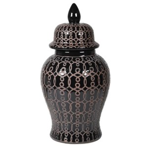 Black patterned ceramic ginger jar