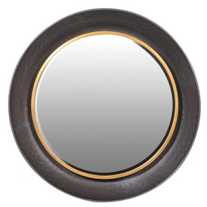 Round hammered effect gold rim mirror