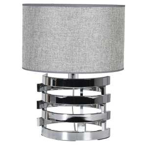 Nickel table lamp with grey shade (small)