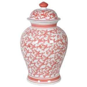White and coral decorative jar (large)