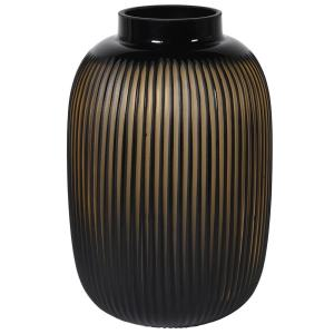 Black and amber ribbed vase
