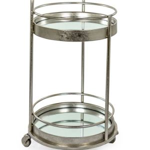 Antique silver/champagne leaf small round bar trolley with mirrored shelves