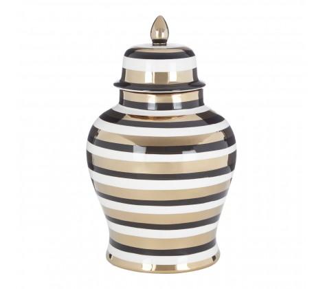Black white and gold gloss stripey ceramic jar (small)