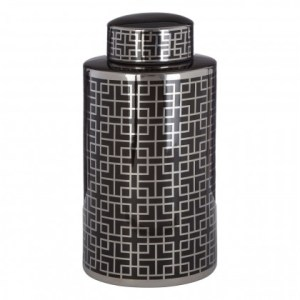 Black and silver round patterned ceramic jar (small)