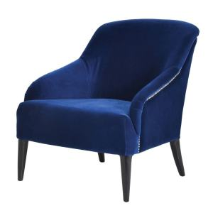 Blue velvet studded occasional chair
