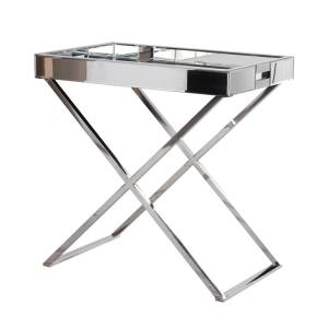 Stainless steel mirrored glass bedside table
