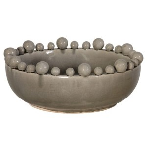Decorative grey ceramic gloss bowl with ball detail