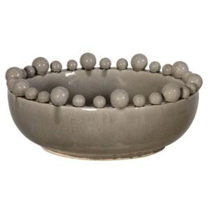 Decorative grey ceramic gloss bowl with ball detail