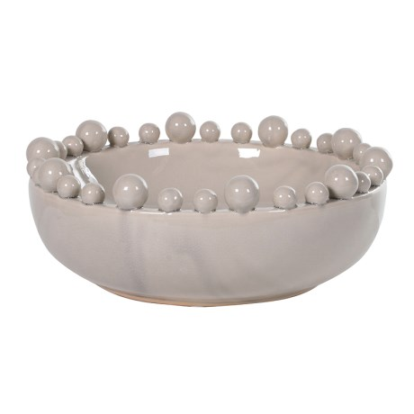 Decorative cream ceramic gloss bowl with ball detail