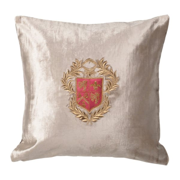 Silver velvet cushion with crest