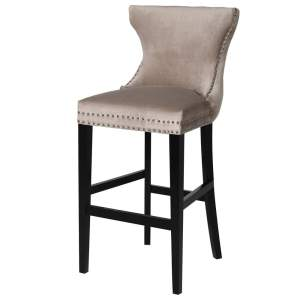 Taupe bar stool with studded detail