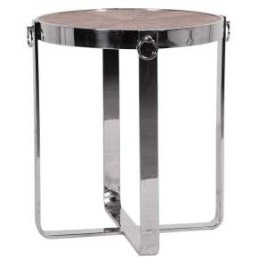 Wooden top round table with steel frame