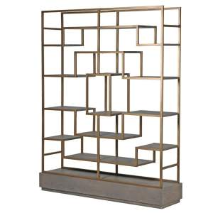 Multi shelf display unit with gold frame