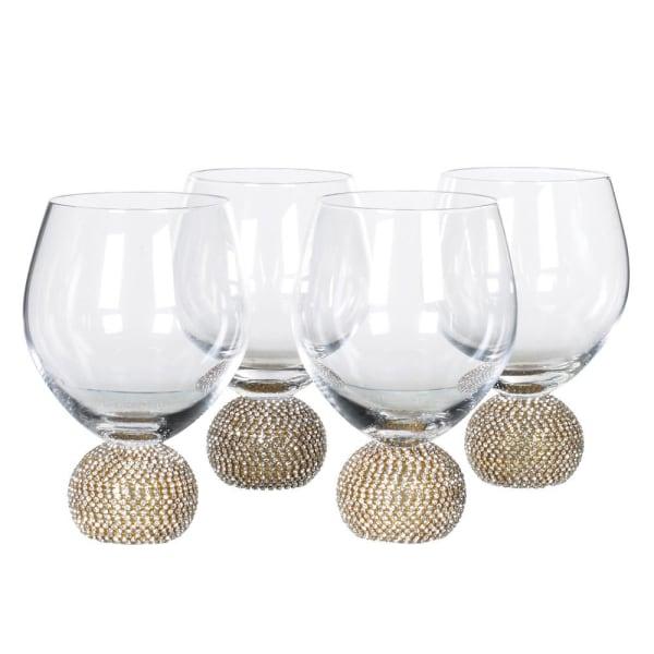 Gold diamanté ball crystal stemless wine glasses (set of 4)