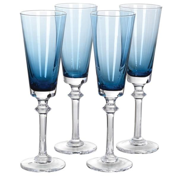 Blue gradient champagne flutes (set of 4)