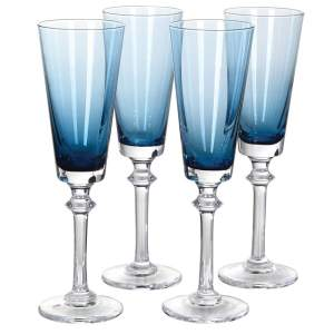 Blue gradient champagne flutes (set of 4)