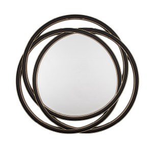 Black and gold circular wall mirror