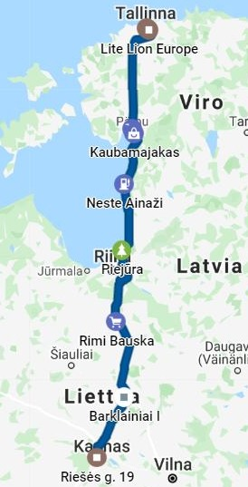 4513 km pitkä postaus Day 1 Via Baltica, kartta