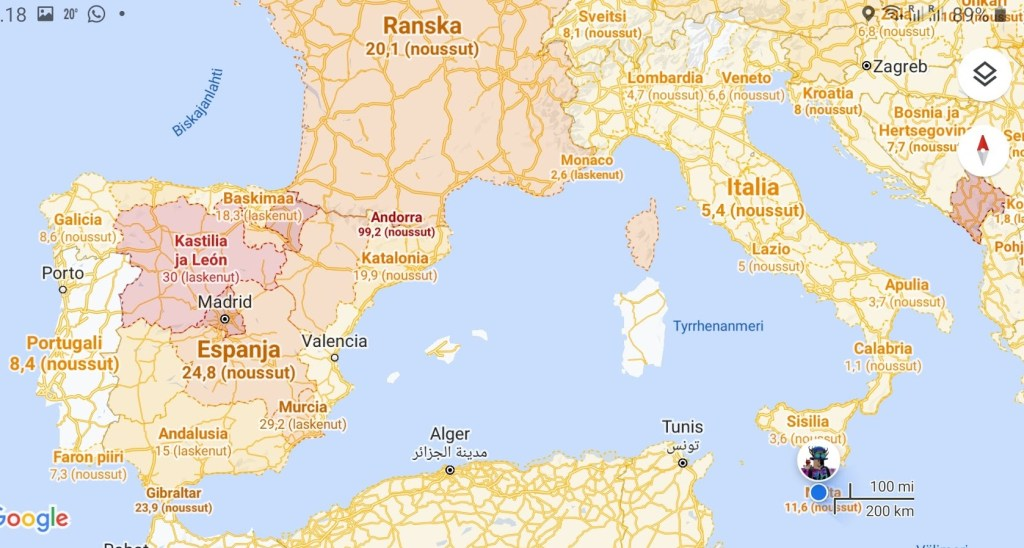 Road Trip 3597 Korona road trip, Euroopan korona-kartta