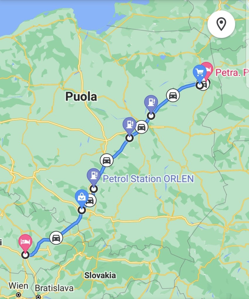 Road trip Tsekki - Puola, kartta