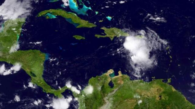 Tropical Storm Erika is seen in the Caribbean Ocean in this NOAA GOES-East satellite image taken August 28, 2015. REUTERS/NOAA/Handout