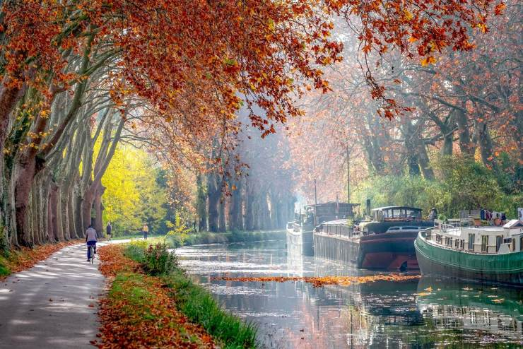 The Canal du Midi near Toulouse in autumn, in South of France
