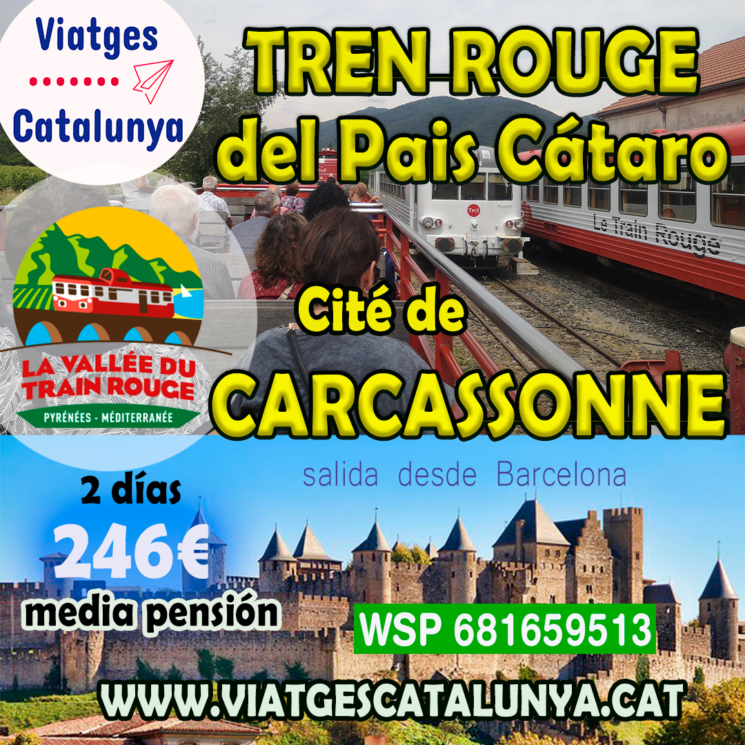 Tren Rojo del Pais Cataro con visita Carcassonne