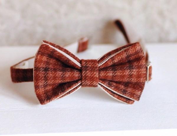 Дизайнерский галстук-бабочка из твида, терракотовый, оранжевый, мелкая-клетка. ViaVestis