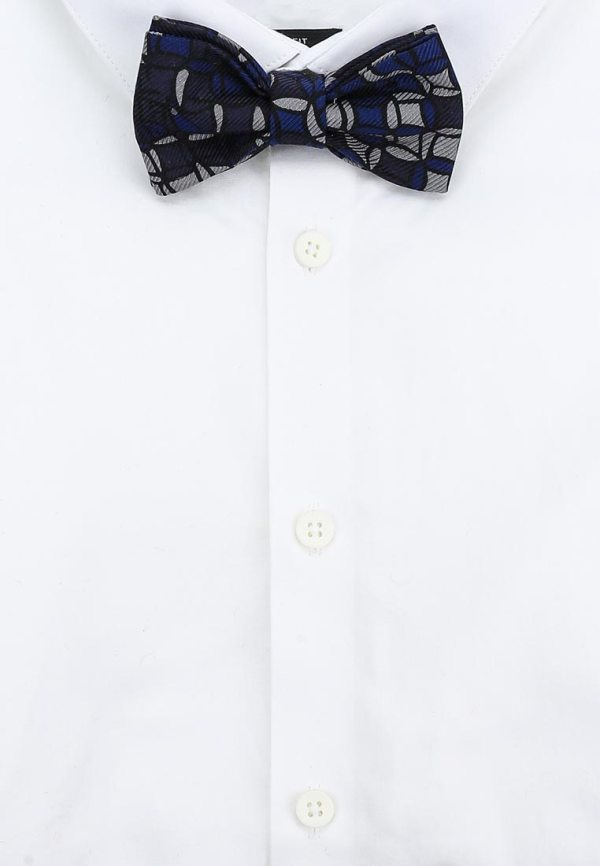 галстук-бабочка синий шелк с запонками. Идея подарка