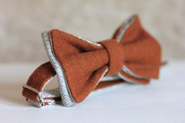 Дизайнерский галстук-бабочка из твида, терракотовый, оранжевый. ViaVestis