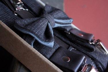 Подтяжки мужские с галстуком-бабочкой, из твида. Дизайнерские подтяжки, коричневые.