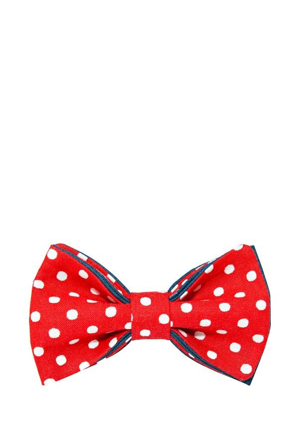 галстук-бабочка красный в горошек