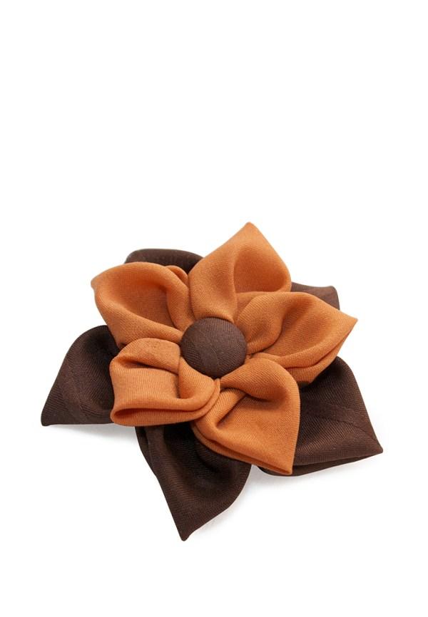Брошь-цветок шелковый, ручная работа