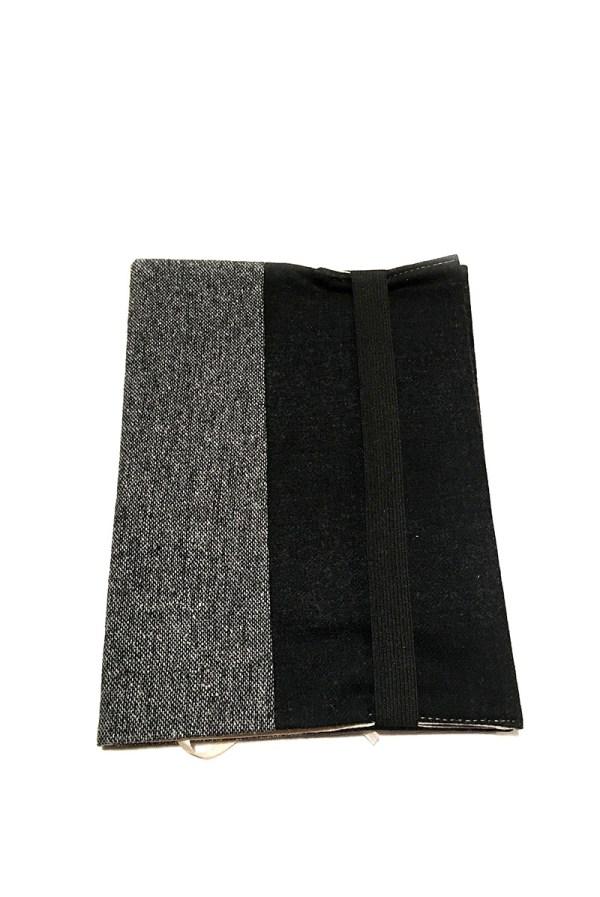 книжная обложка текстильная серый черный твид