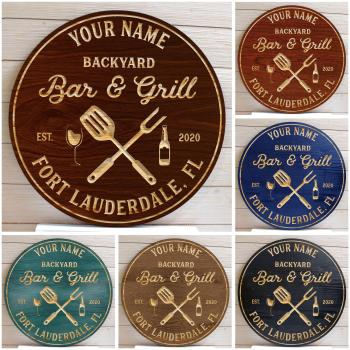 Bar And Grill Sign, Bar Signs, BBQ Signs, Personalized Bar Sign, Custom Patio Sign, Wood Signs, Wedding Gift, Birthday Gift
