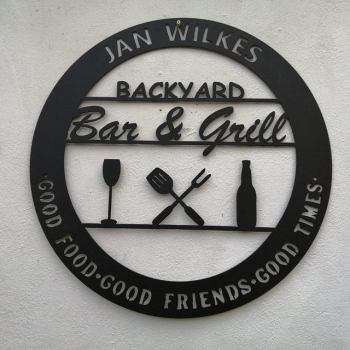 Backyard Bar and Grill Custom Metal Sign, Gifts for Father's Day