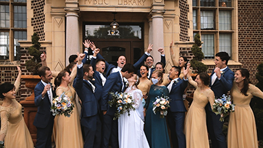 Bride and groom say I do at Notre Dame and Carnegie Library Events center in Mishawaka, IN. Reminder that marriage is real friendship