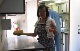 Connie Chin prepares the AVC Health Bus for its debut!