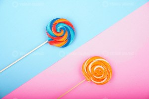 Lollipops with colorful background