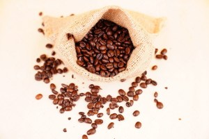 Sack of coffee stock image
