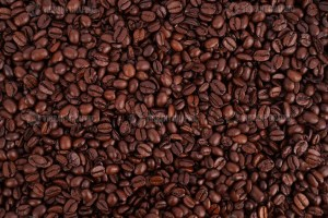 Dark brown coffee beans photo