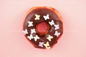 Donut isolated on pink background