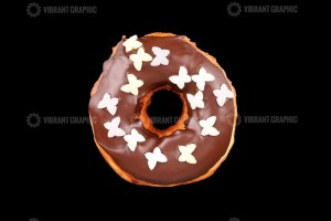 Donut on Black Background