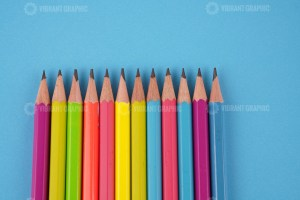 Drawing Pencils on Blue Stock Photo