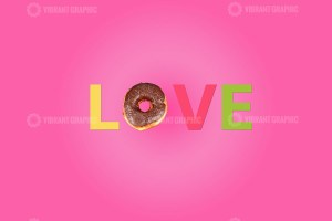 Love word made with donut