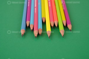 Pencils on Green Stock Photo