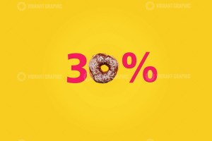 Thirty percent made with number and donut