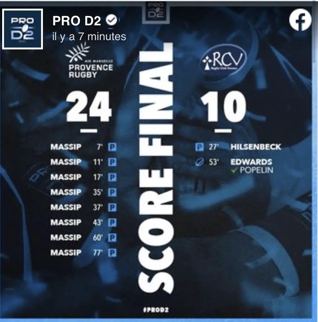 Rugby pro D2 : Les résultats de la soirée