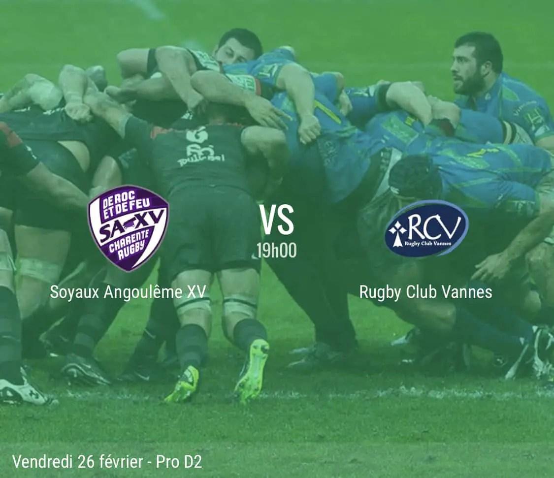 Rugby Pro D2 ( Soyaux – Angoulême – Vannes ) : les compositions